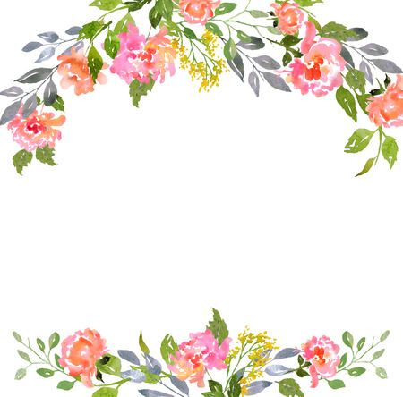 Card template with watercolor peonies.  Illustration for greeting cards, invitations, and other printing projects.