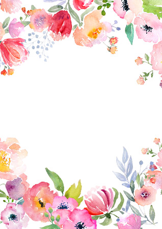 Card template with watercolor roses. Illustration for greeting cards, invitations, and other printing projects. Banque d'images