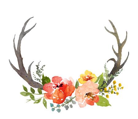 venado: Acuarela pintada a mano composición floral con cuernos de venado, aislados en blanco. Foto de archivo