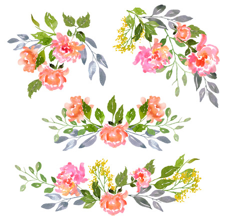 Floral clip art with watercolor peonies.  Illustration for greeting cards, invitations, and other printing projects. Banque d'images