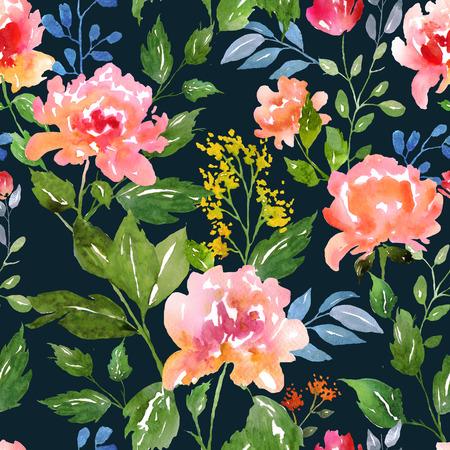 Aquarelle motif floral et de fond sans soudure. Idéal pour l'impression sur tissu et papier ou le scrapbooking. Peinte à la main. Raster illustration.