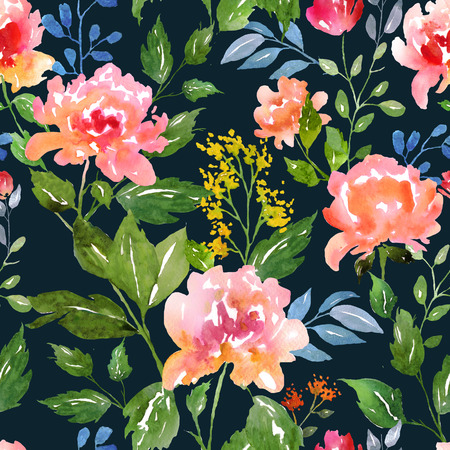 Watercolor floral pattern and seamless background. Ideal for printing onto fabric and paper or scrap booking. Hand painted. Raster illustration. Stock Photo