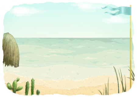 seascape: Seascape, summer illustration: beach, sky, plants, umbrella and blue flag. Stock Photo