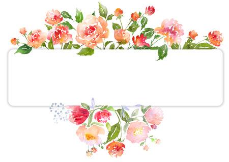aquarelle: Clip art floral avec des pivoines à l'aquarelle. Illustration pour les cartes de voeux, invitations, et d'autres projets d'impression.