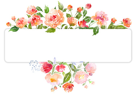 Floral clip art with watercolor peonies.  Illustration for greeting cards, invitations, and other printing projects. Zdjęcie Seryjne