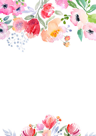 Card template with watercolor roses. Illustration for greeting cards, invitations, and other printing projects. Standard-Bild