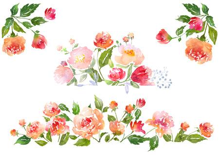 Bloemen illustraties met waterverf pioenrozen. Illustratie voor wenskaarten, uitnodigingen, en andere drukwerk projecten.