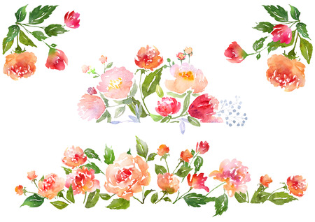 peonies: Floral clip art with watercolor peonies.  Illustration for greeting cards, invitations, and other printing projects. Stock Photo