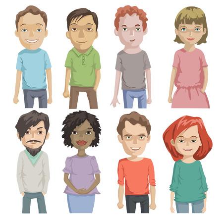 caras felices: Conjunto de varias caras de dibujos animados, gente avatar, ilustración