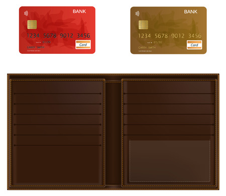 waste money: Realistic illustrated wallet and two bank cards. Isolated in white.