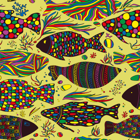 fish pattern: seamless fish pattern, colored, abstract style Illustration