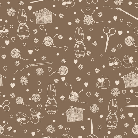 времяпровождение: Pastime things; baby bunny, tea pattern. Can be used for wallpaper, pattern fills, web page background, surface textures. Иллюстрация