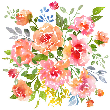 Card template with watercolor roses. Raster illustration. Illustration for greeting cards, invitations, and other printing projects.