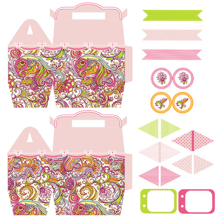 box template: Party set. Gift box template.  Abstract floral pattern. Empty labels and cupcake toppers and food tags.