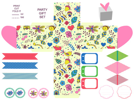 die cut: Party set. Gift box template.  Abstract flowers and insects pattern. Empty labels and cupcake toppers and food tags.