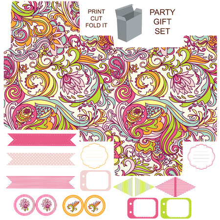 die line: Party set. Gift box template.  Abstract floral pattern. Empty labels and cupcake toppers and food tags.