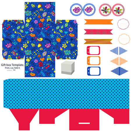 box template: Party set. Gift box template.  Abstract flowers and insects pattern. Empty labels and cupcake toppers and food tags.