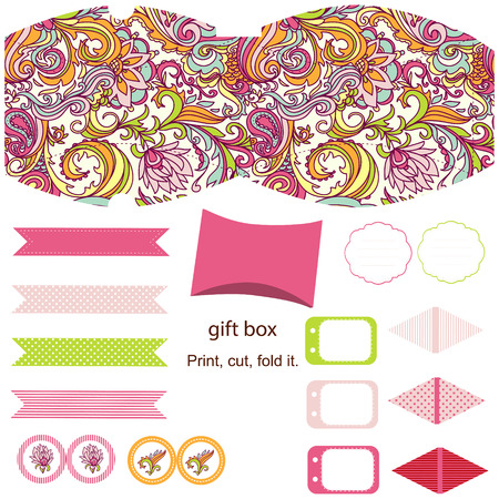 diecut: Party set. Gift box template.  Abstract floral pattern. Empty labels and cupcake toppers and food tags.