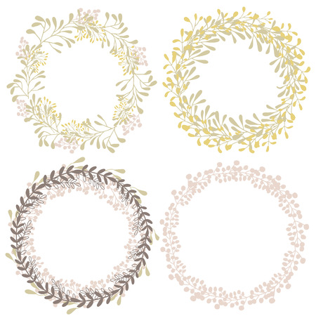 text frame: Hand drawn set of wreaths with herbs and branches, nature objects, clip art.