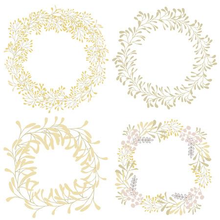 Hand Drawn ensemble de couronnes avec des herbes et des branches, des objets de la nature, clip art. Vecteurs