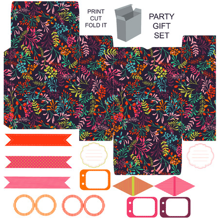 herbs boxes: Party set. Gift box template.  Abstract nature pattern, herbs and leaves. Empty labels and cupcake toppers and food tags. Illustration