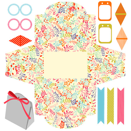 die line: Party set. Gift box template.  Abstract nature pattern, herbs and leaves. Empty labels and cupcake toppers and food tags. Illustration