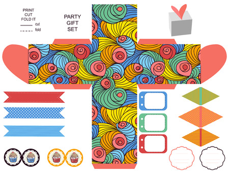 die cut: Party set. Gift box template.  Abstract colored swirl pattern. Empty labels and cupcake toppers and food tags.