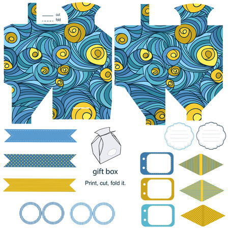 diecut: Party set. Gift box template.  Abstract colored swirl pattern. Empty labels and cupcake toppers and food tags.