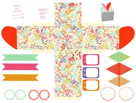 box template: Party set. Gift box template.  Abstract nature pattern, herbs and leaves. Empty labels and cupcake toppers and food tags. Illustration