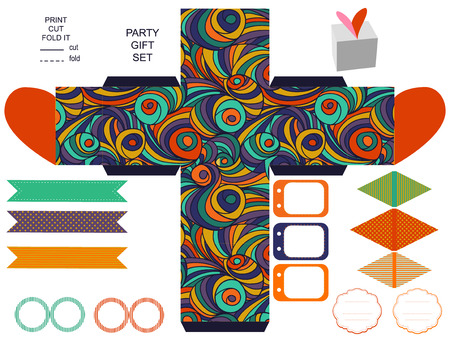 box template: Party set. Gift box template.  Abstract colored swirl pattern. Empty labels and cupcake toppers and food tags.