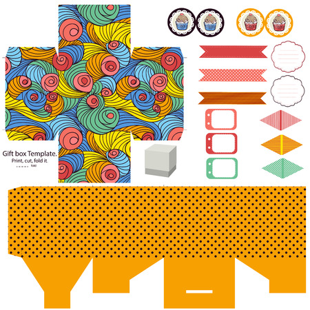 favor: Party set. Gift box template.  Abstract colored swirl pattern. Empty labels and cupcake toppers and food tags.