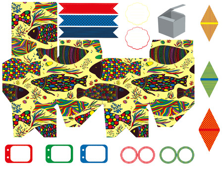 die line: Party set. Gift box template.  Abstract pattern with fishes. Empty labels and cupcake toppers and food tags.