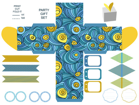 dieline: Party set. Gift box template.  Abstract colored swirl pattern. Empty labels and cupcake toppers and food tags.