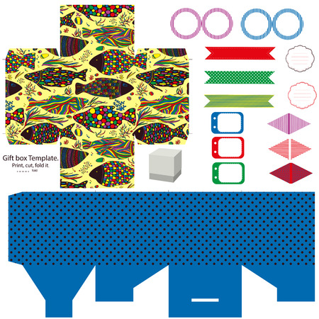 dieline: Party set. Gift box template.  Abstract pattern with fishes. Empty labels and cupcake toppers and food tags.