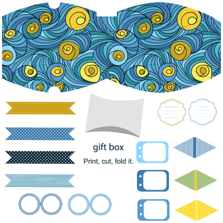 Party set. Gift box template.  Abstract colored swirl pattern. Empty labels and cupcake toppers and food tags.