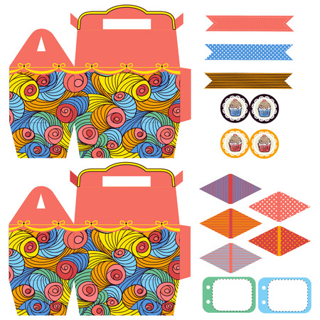 biscuit: Party set. Gift box template.  Abstract colored swirl pattern. Empty labels and cupcake toppers and food tags.