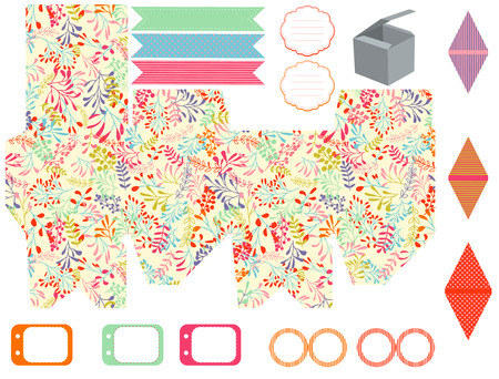 branch cut: Party set. Gift box template.  Abstract nature pattern, herbs and leaves. Empty labels and cupcake toppers and food tags. Illustration
