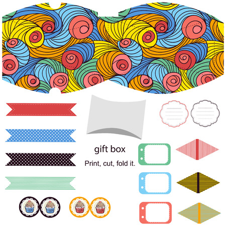 abstract swirl: Party set. Gift box template.  Abstract colored swirl pattern. Empty labels and cupcake toppers and food tags.