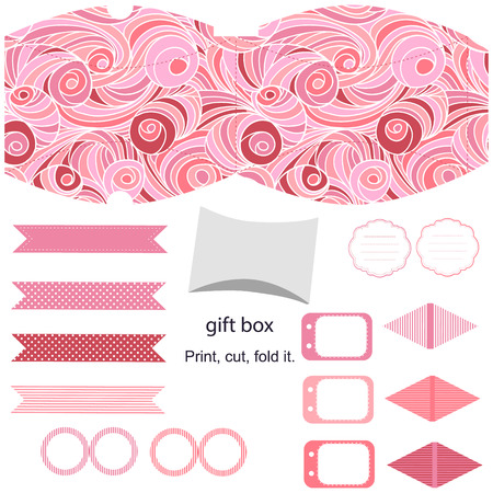 topper: Party set. Gift box template.  Abstract swirl waves pattern. Empty labels and cupcake toppers and food tags.