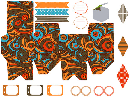 die line: Party set. Gift box template.  Abstract swirl waves pattern. Empty labels and cupcake toppers and food tags.