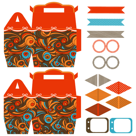 waves pattern: Party set. Gift box template.  Abstract swirl waves pattern. Empty labels and cupcake toppers and food tags.