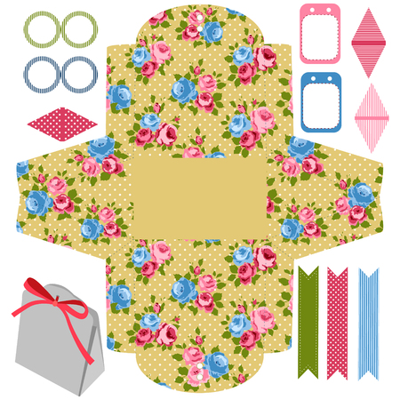die cut: Party set. Gift box template.  Abstract floral shabby chic pattern, classic country roses. Empty labels and cupcake toppers and food tags. Illustration