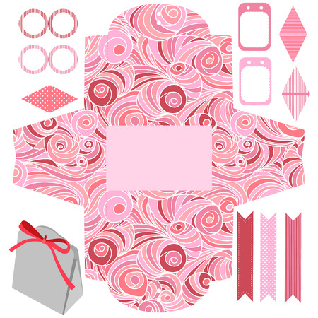 box: Party set. Gift box template.  Abstract swirl waves pattern. Empty labels and cupcake toppers and food tags.