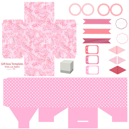 dieline: Party set. Gift box template.  Abstract nature pattern with harbs. Empty labels and cupcake toppers and food tags. Illustration