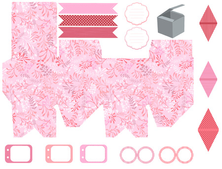 herbs boxes: Party set. Gift box template.  Abstract nature pattern with harbs. Empty labels and cupcake toppers and food tags. Illustration