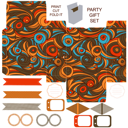 box template: Party set. Gift box template.  Abstract swirl waves pattern. Empty labels and cupcake toppers and food tags.