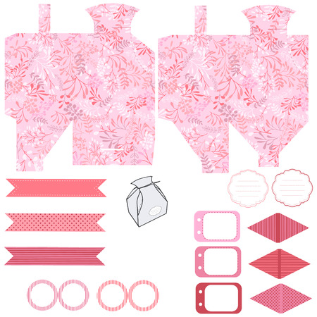 diecut: Party set. Gift box template.  Abstract nature pattern with harbs. Empty labels and cupcake toppers and food tags. Illustration