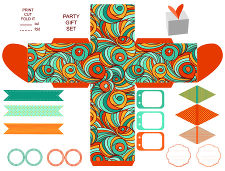 birthday party: Party set. Gift box template.  Abstract swirl waves pattern. Empty labels and cupcake toppers and food tags.