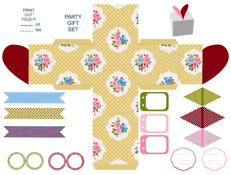 box template: Party set. Gift box template.  Abstract floral shabby chic pattern, classic country roses. Empty labels and cupcake toppers and food tags. Illustration