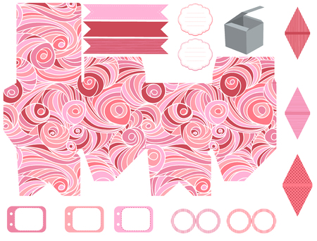 cupcake: Party set. Gift box template.  Abstract swirl waves pattern. Empty labels and cupcake toppers and food tags.